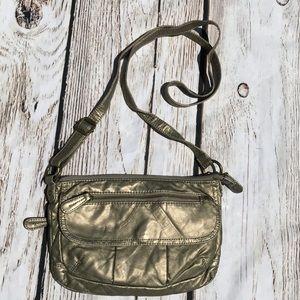 Bueno Gold Metallic Multi pocket crossbody bag